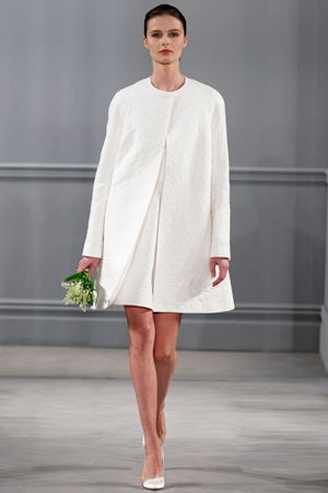 monique lhuiller wedding dress bridal fashion week ss14 1950s short skirt suit