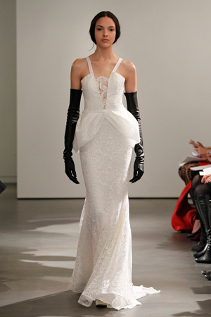 vera wang bridal fashion week spring summer 2014 v neck with peplum