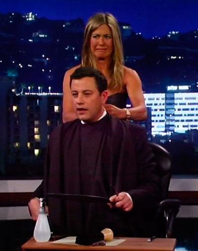 jennifer aniston jimmy kimmel hair cut xposure