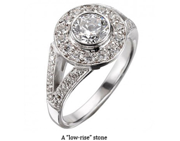 low rise diamond ring